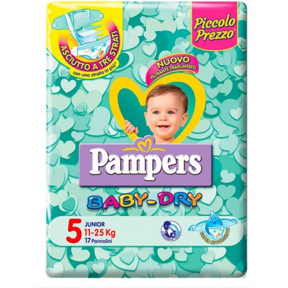 PAMPERS BABY DRY PANNOLINI MISURA 5 JUNIOR 11-25KG 17PZ.