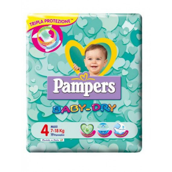 PAMPERS BABY DRY PANNOLINI MISURA 4 MAXI 7-18KG 19PZ.
