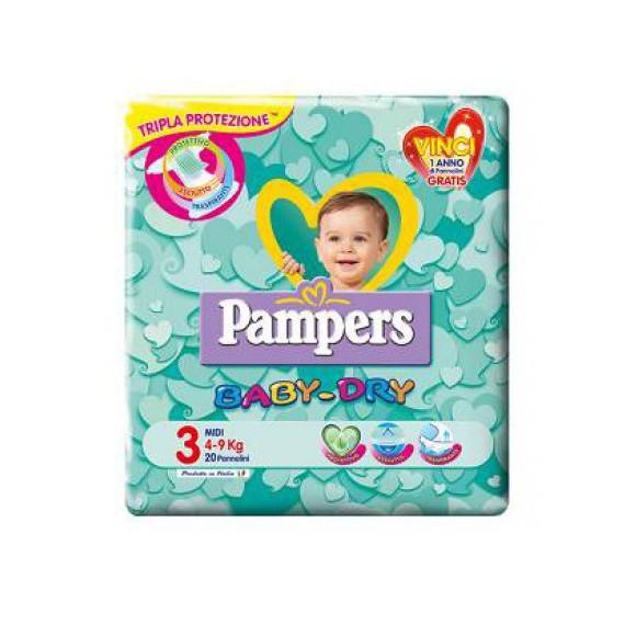 PAMPERS BABY DRY PANNOLINI MISURA 3 MIDI 4-9KG 20PZ.