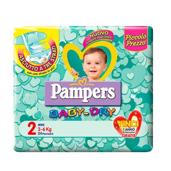 PAMPERS BABY DRY PANNOLINI MISURA 2 MINI 3-6KG 24PZ.