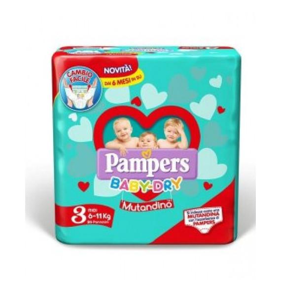 PAMPERS BABY DRY MUTANDINO PANNOLINI MISURA 3 MIDI 6-11KG 19PZ.