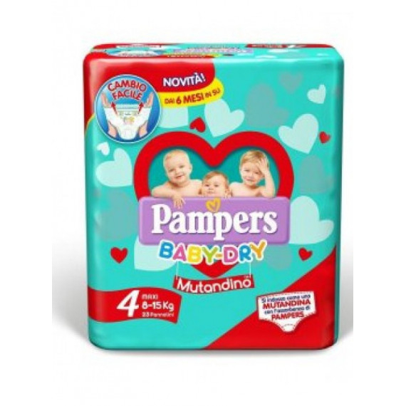 PAMPERS BABY DRY PANNOLINI MISURA 4 MAXI 8-15KG 16PZ.