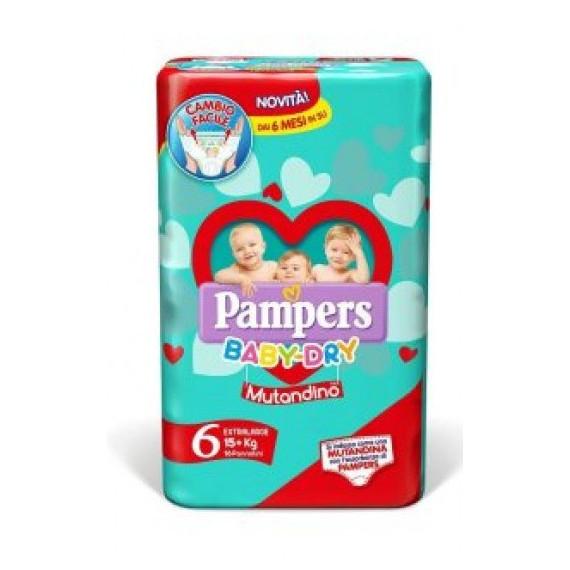 PAMPERS BABY DRY MUTANDINO PANNOLINI MISURA 6 EXTRA LARGE 15-30KG 14PZ.