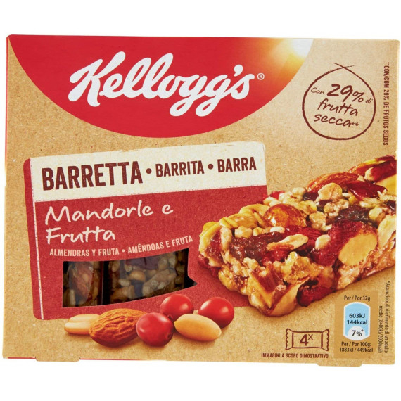KELLOGG'S BARRETTE MANDORLA E FRUTTA PEZZI 4 GR.128
