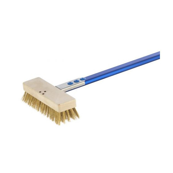Gimetal spazzola in ottone per forno elettrico cm.20x6 h.6 manico cm.150