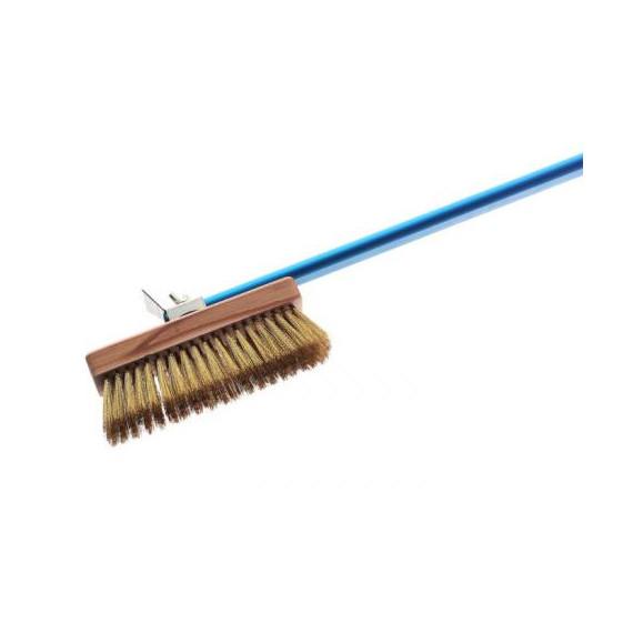 Gimetal spazzola girevole con setole in ottone e raschietto per forno con manico cm.150