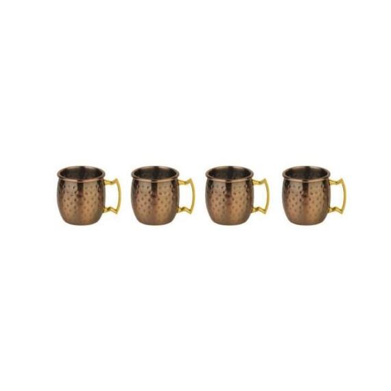 Paderno mini moscow mule mug martellato placcato rame anticato ml.60 pezzi 4