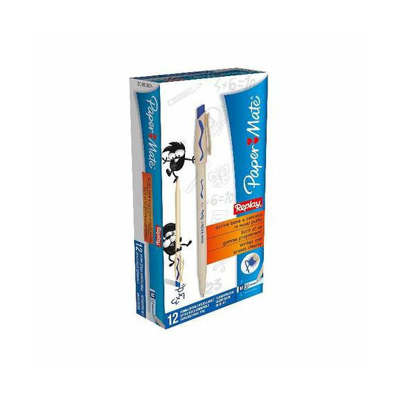 PAPERMATE BLISTER 2 PENNE REPLAY NEW BLU PEZZI 10