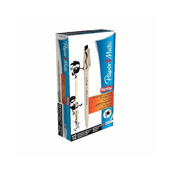 PAPERMATE BLISTER 2 PENNE REPLAY NEW NERO PEZZI 10