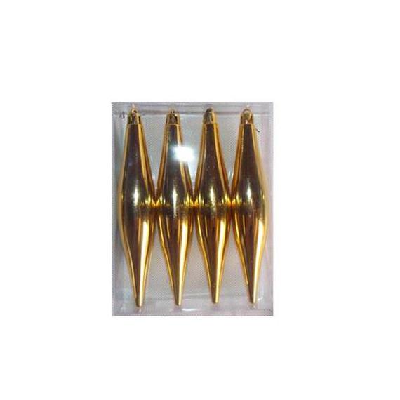 BOX 4 PENDENTI METALLIZATE GOLD CM.15x3