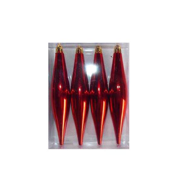 BOX 4 PENDENTI METALLIZATE RED CM.15x3