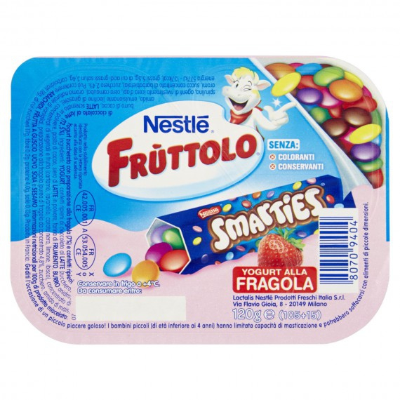 NESTLE FRUTTOLO SPLIT POT FRAGOLA CON SMARTIES GR.120