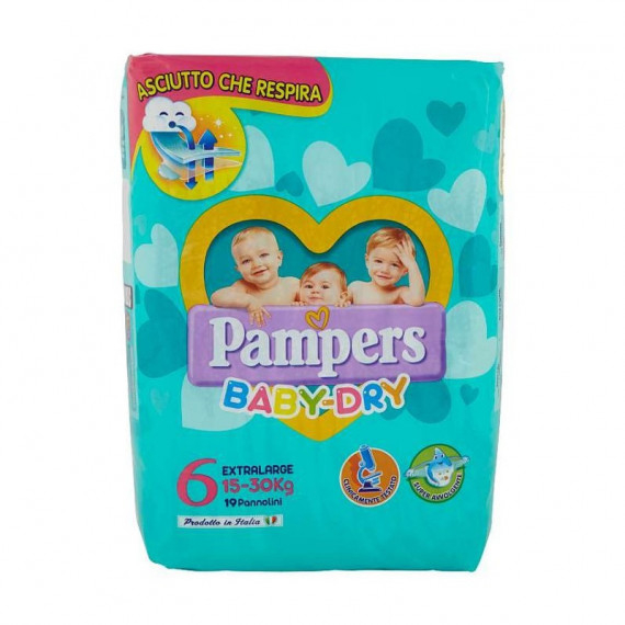 PAMPERS BABY DRY PANNOLINI 6 EXTRALARGE 15-30KG 19PZ.