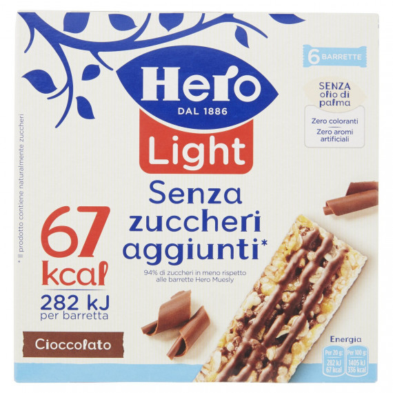 HERO MUESLY LIGHT CIOCCOLATO 6 BARRETTE GR.120